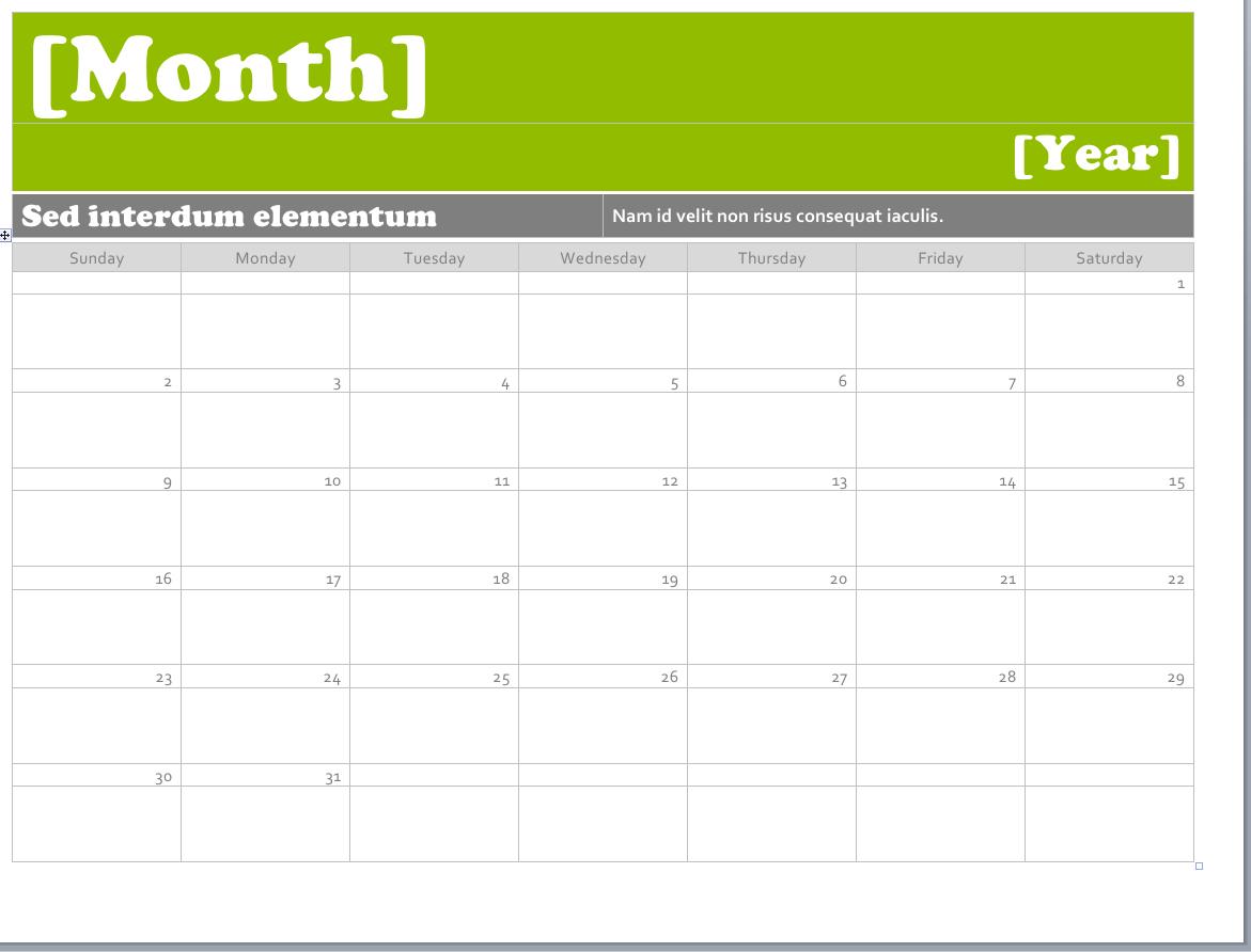 Ms Word Calendar Templates • Printable Calendar Template with Microsoft Word Templates Calendar