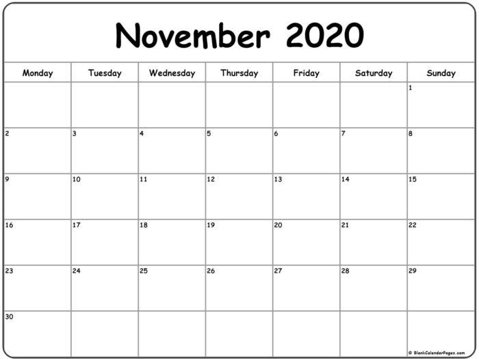 November 2020 Monday Calendar   Monday To Sunday In 2020 inside Monday Through Saturday Calendar
