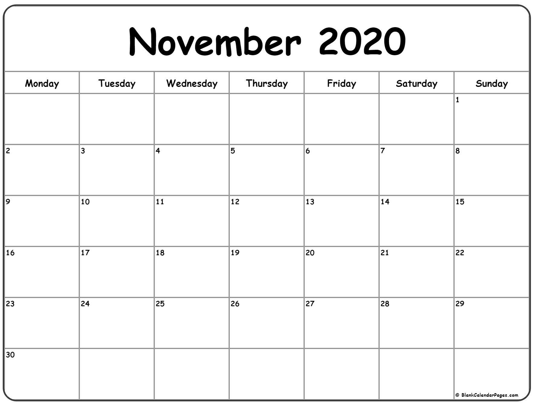 November 2020 Monday Calendar | Monday To Sunday In 2020 inside Monday Through Saturday Calendar