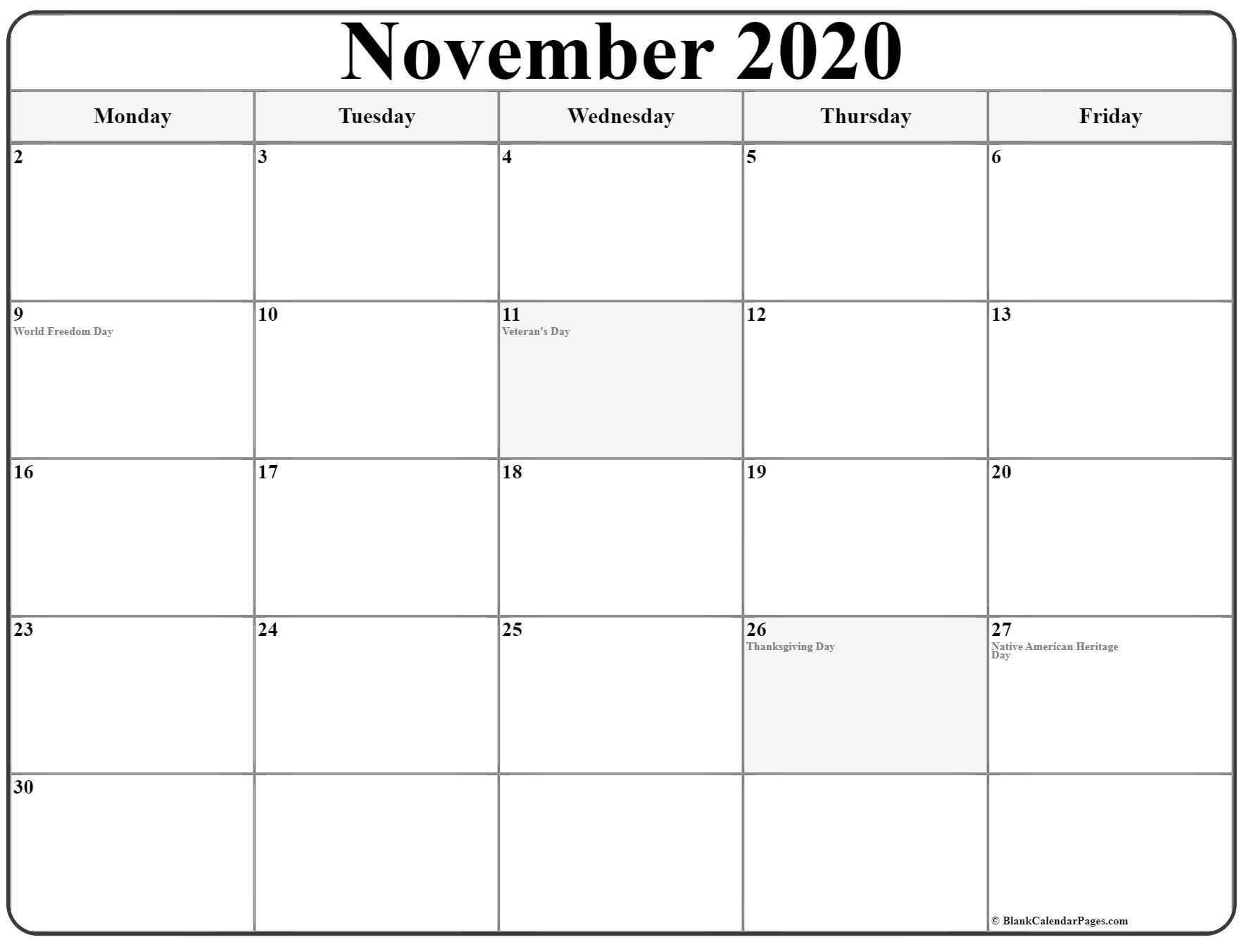 November 2020 Monday Calendar | Monday To Sunday with Monday To Sunday Calendar