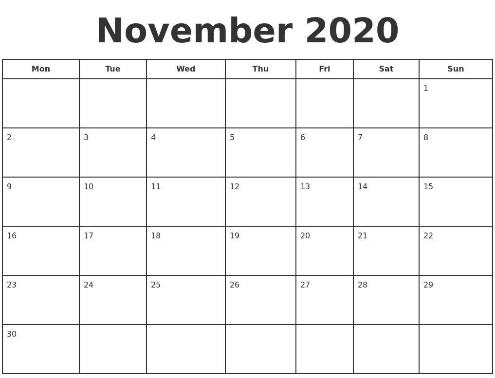 November 2020 Print A Calendar 2020 Calendar Style 3 Free intended for Michel Zbinden Calendar