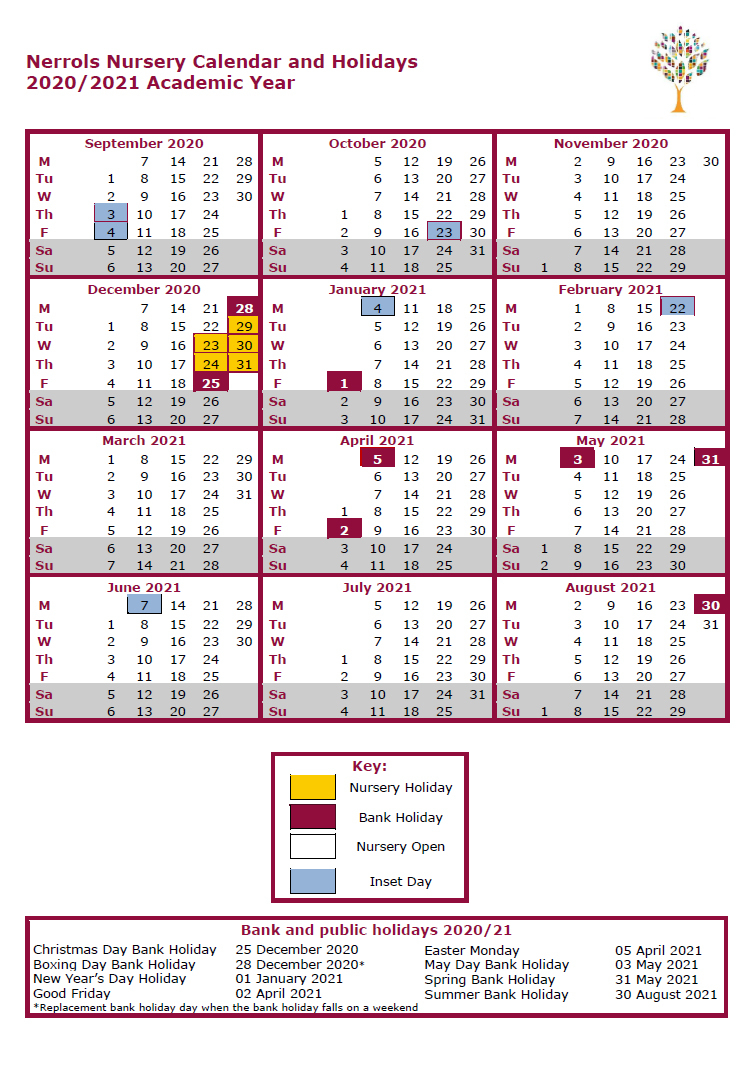 Nursery Term Dates 20202021 | Nerrols Primary School in Matravers School Calendar