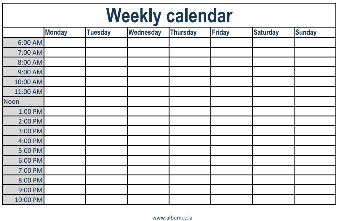 One Week Calendar With Time Slots  Pmc2019 with regard to 2 Week Calander