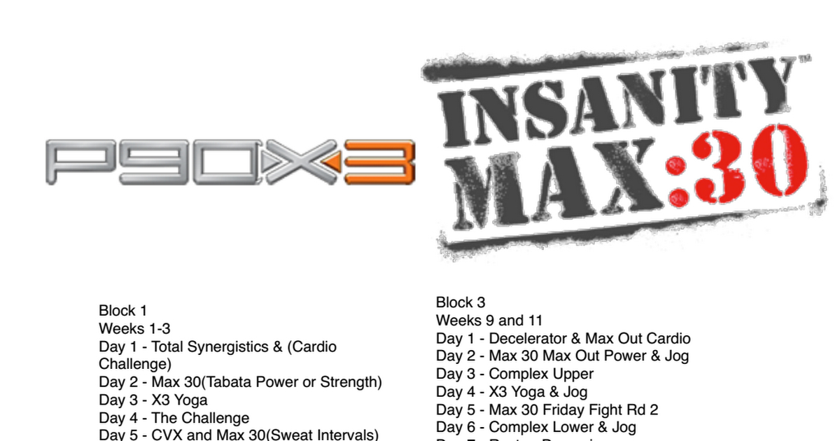 P90X And Insanity Max 30 Hybrid Schedule | Insanity Max 30 regarding Insanity Max 30 Hybrid Calendar