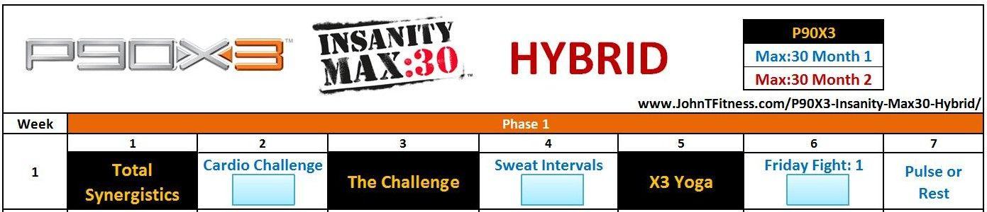P90X3 Insanity Max:30 Hybrid Http:johntfitnessp90X3 within Insanity Max 30 Hybrid Calendar