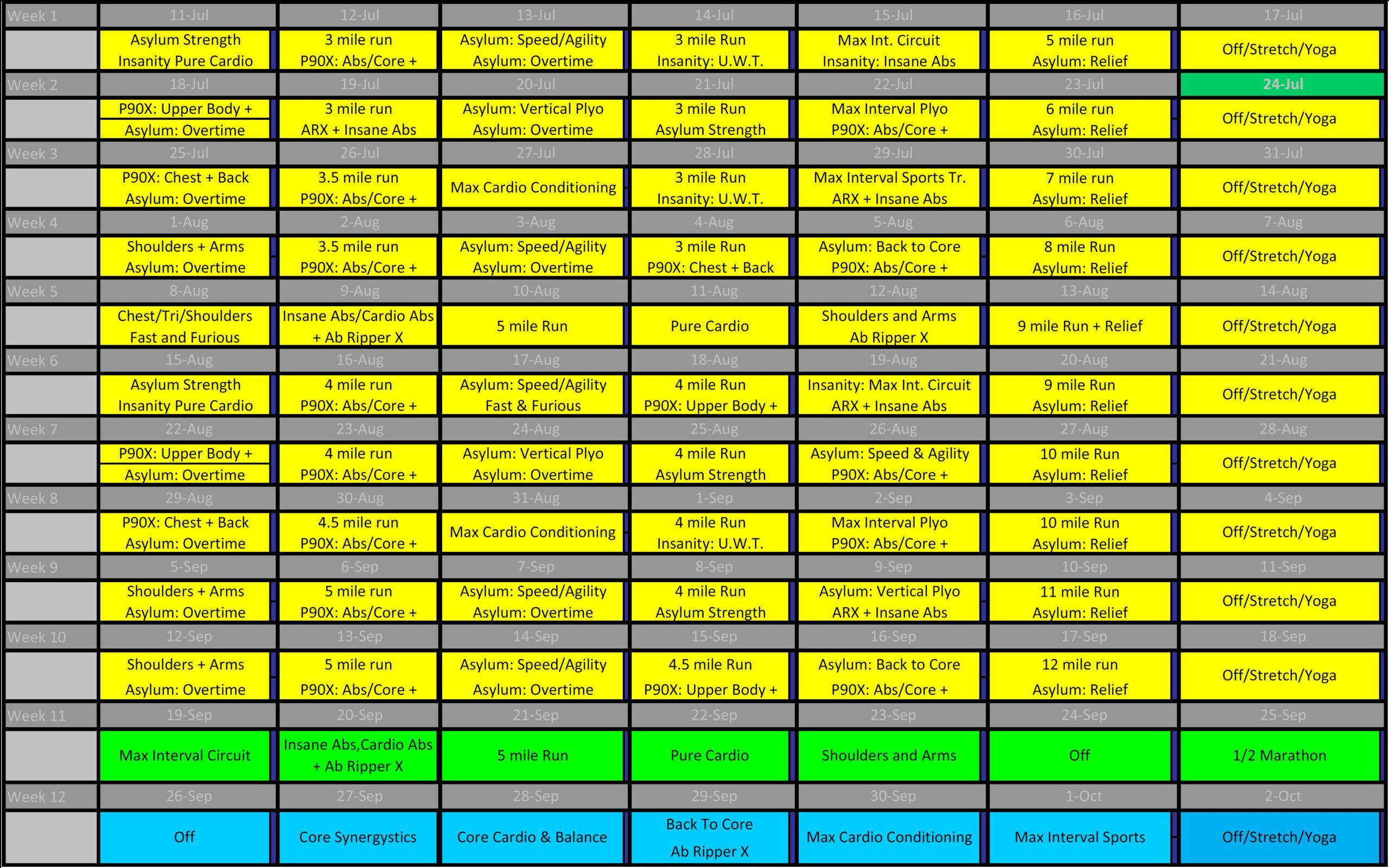 P90Xinsanityasylumrun Hybrid | Coach Brandon Henderson, Phd in Shaun T Hybrid Calendar
