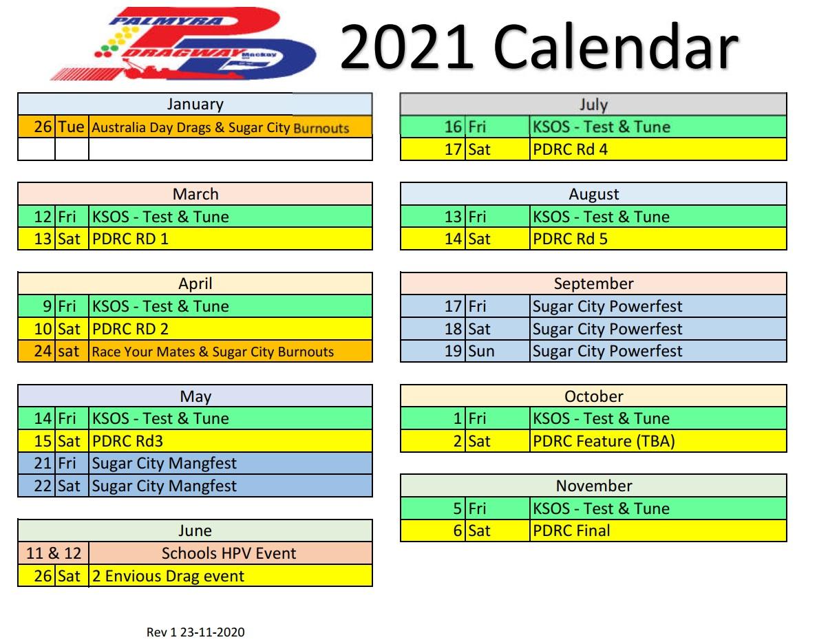 Palmyra Dragway: Mackay, Qld intended for Benaraby Raceway Calendar