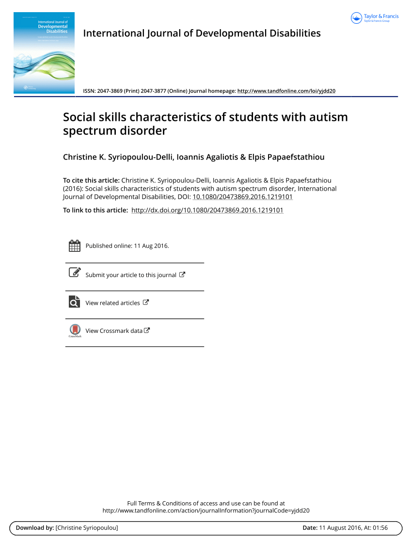 Pdf) Social Skills Characteristics Of Students With Autism within Autism Social Skills Profile Scoring
