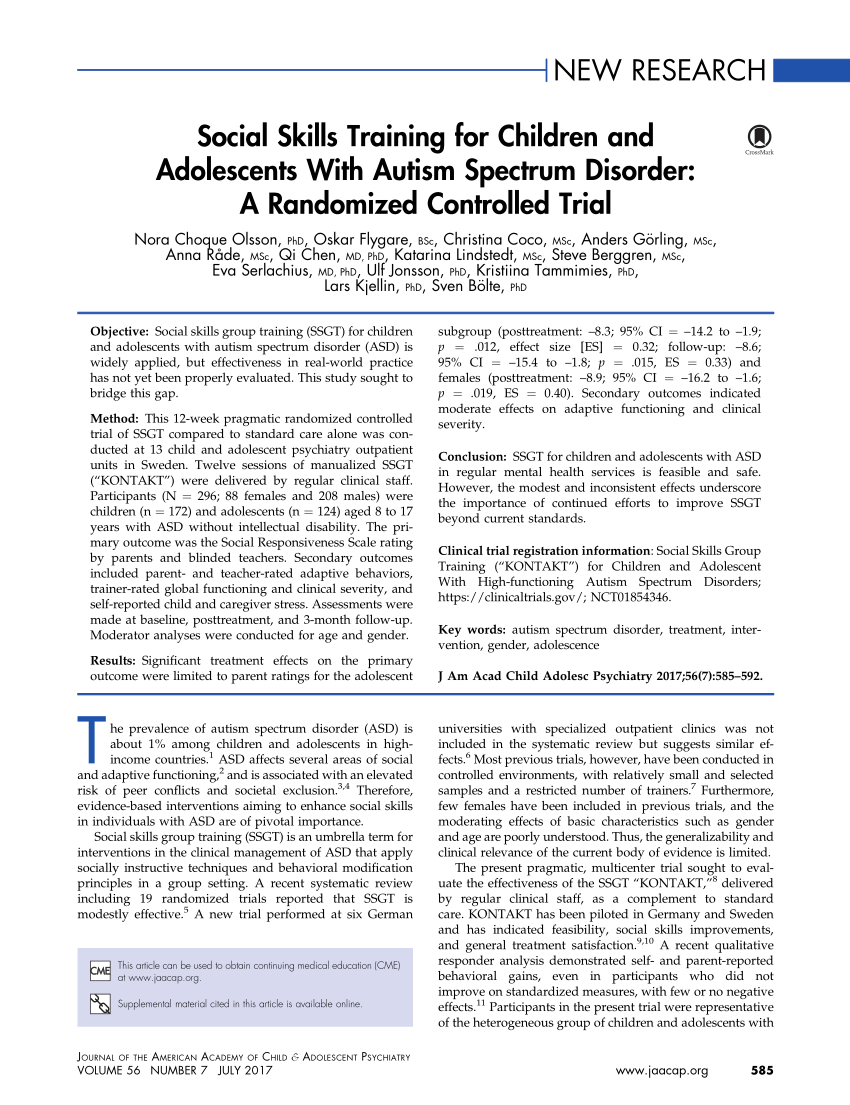 Pdf) Social Skills Training For Children And Adolescents within Autism Social Skills Profile Scoring