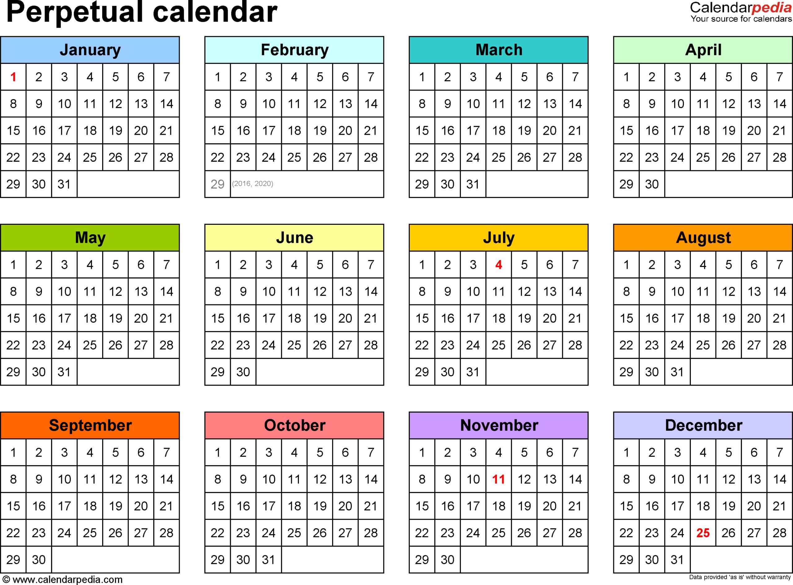 Perpetual Calendars  7 Free Printable Pdf Templates regarding Free Perpetual Calendar Printable