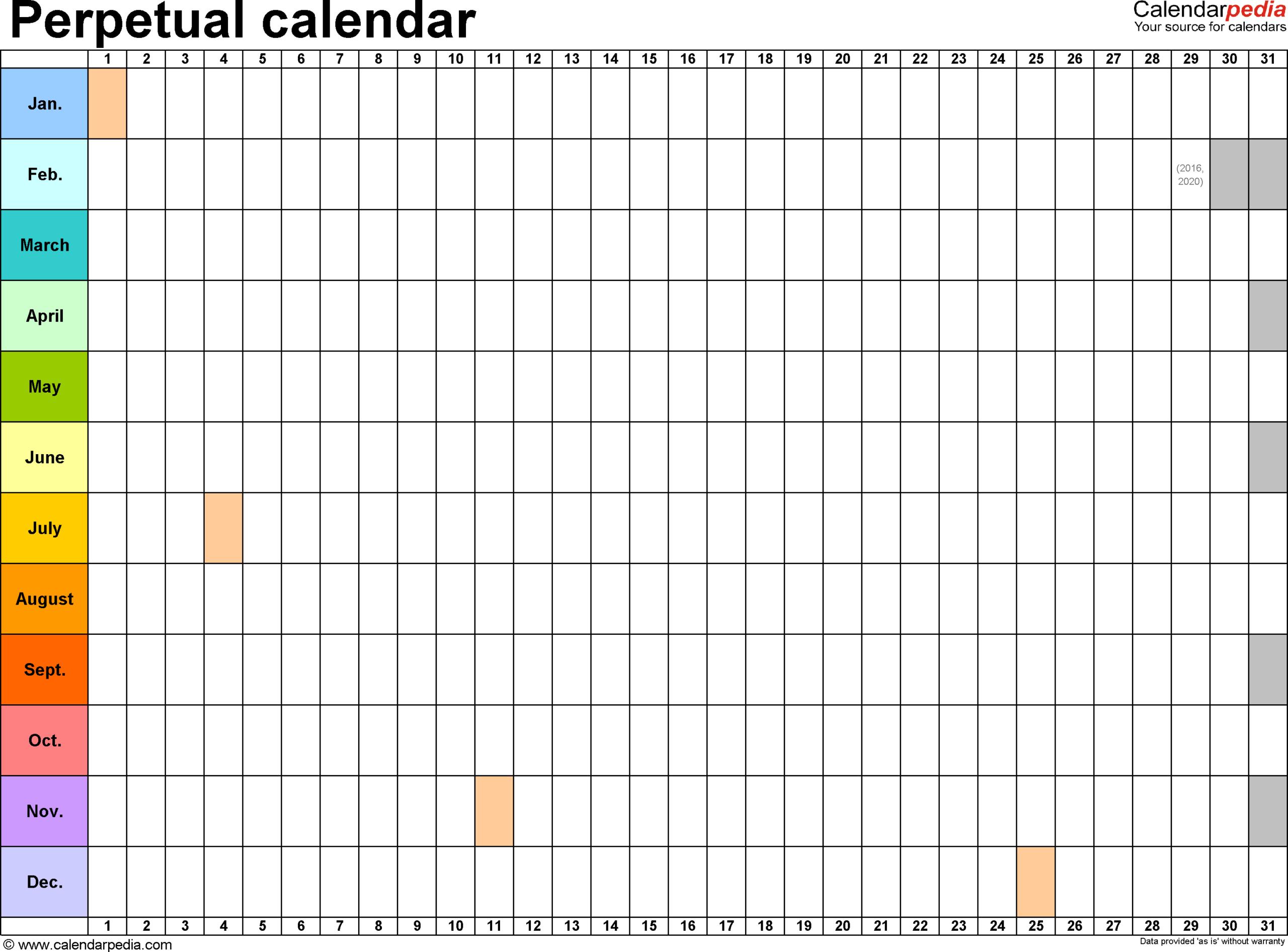 Perpetual Calendars  7 Free Printable Word Templates regarding Free Perpetual Calendar Printable