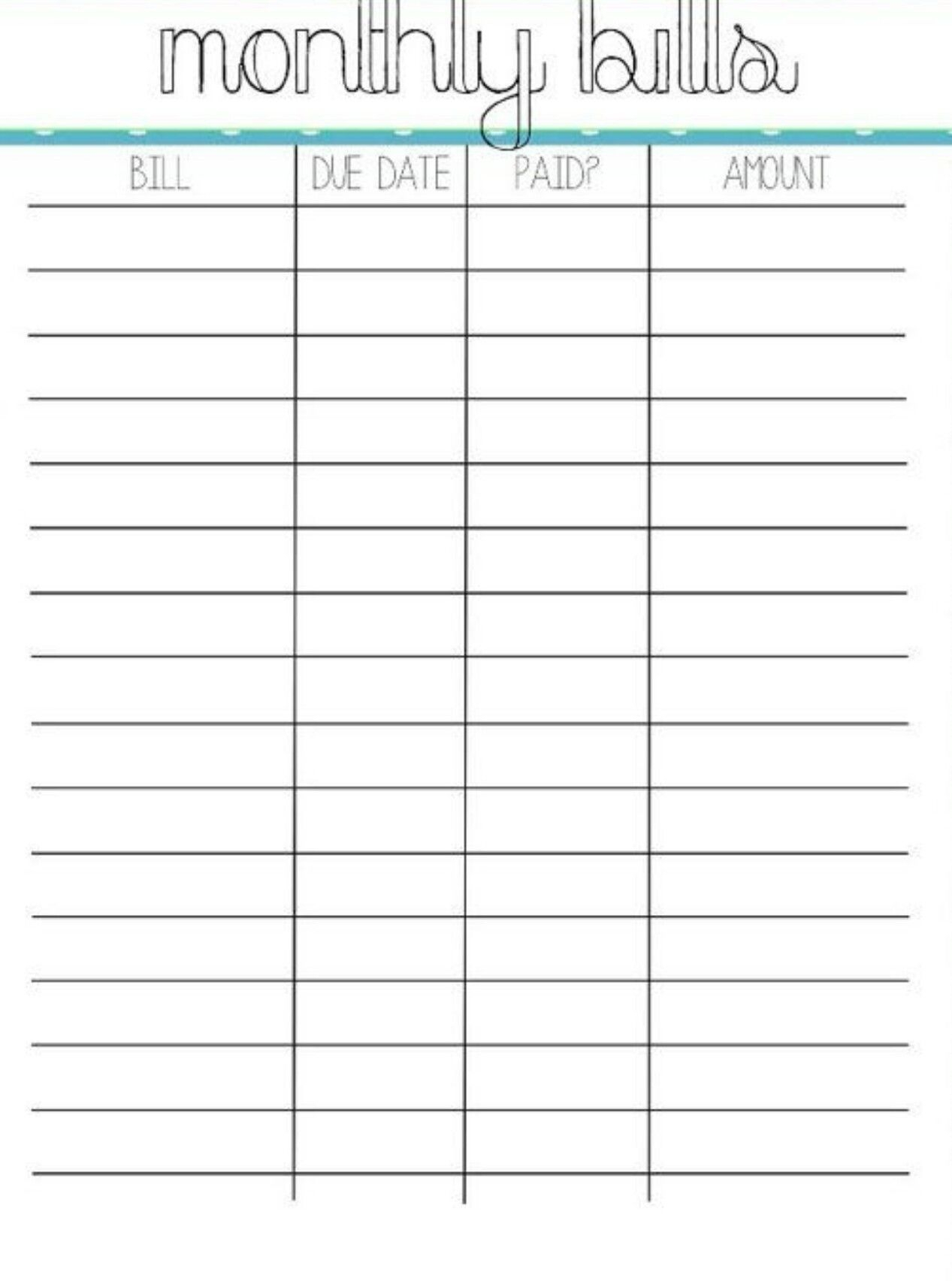 Pin By Crystal On Bills | Organizing Monthly Bills, Bills regarding Free Printable Bill Chart