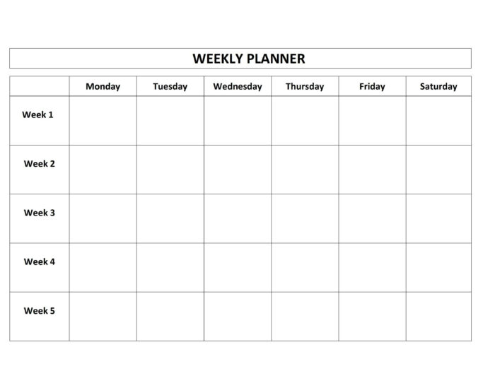 Pin On Aleena inside Monday-Friday Calendar Template