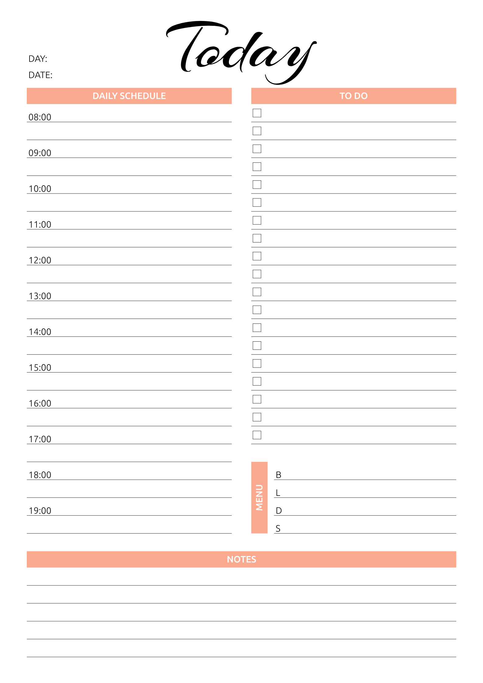 Pin On Daily Planners in Free Printable Daily Planner With Time Slots
