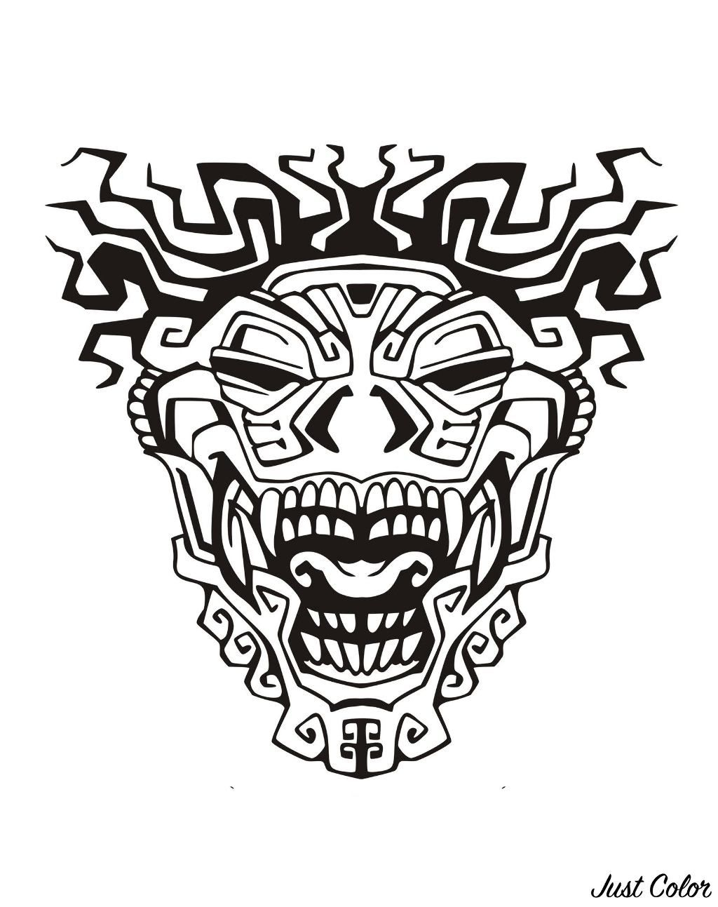 Pin On Tatoeages throughout Aztec Mask Template