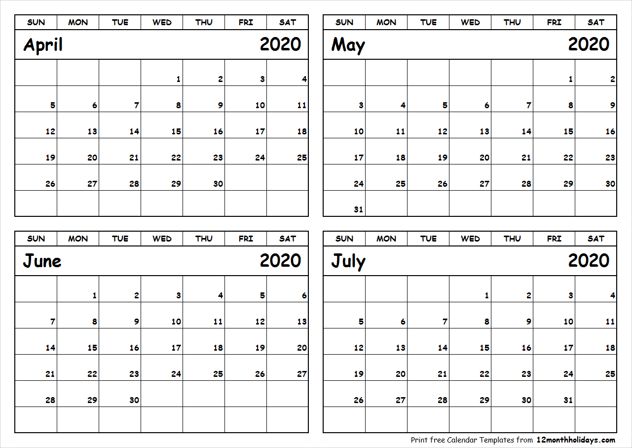 Print April To July 2020 Calendar Template | 4 Month Calendar inside Free Printable 4 Month Calendar