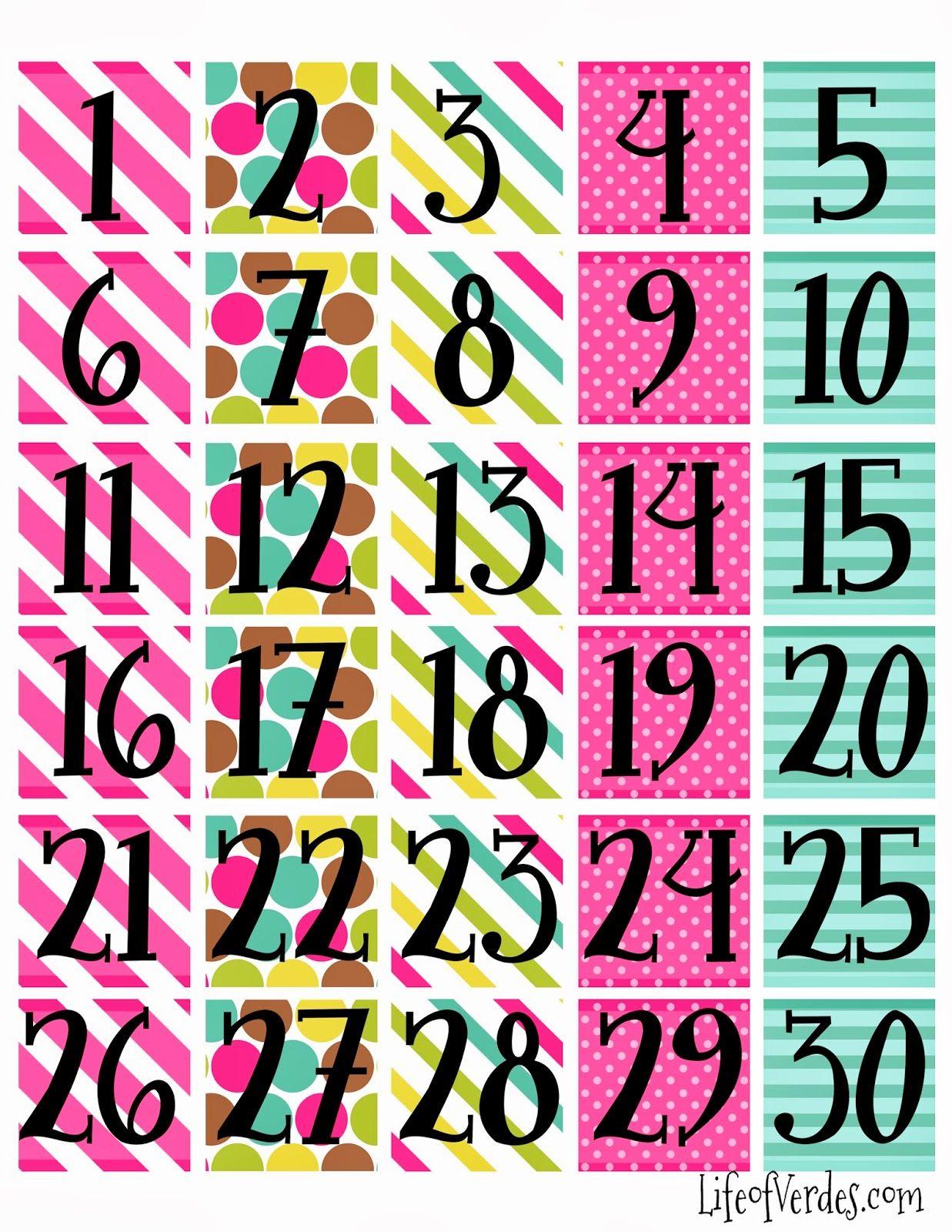 Print Calendar Numbers Free  | Printable Calendar Numbers inside Free Printable Calendar Numbers