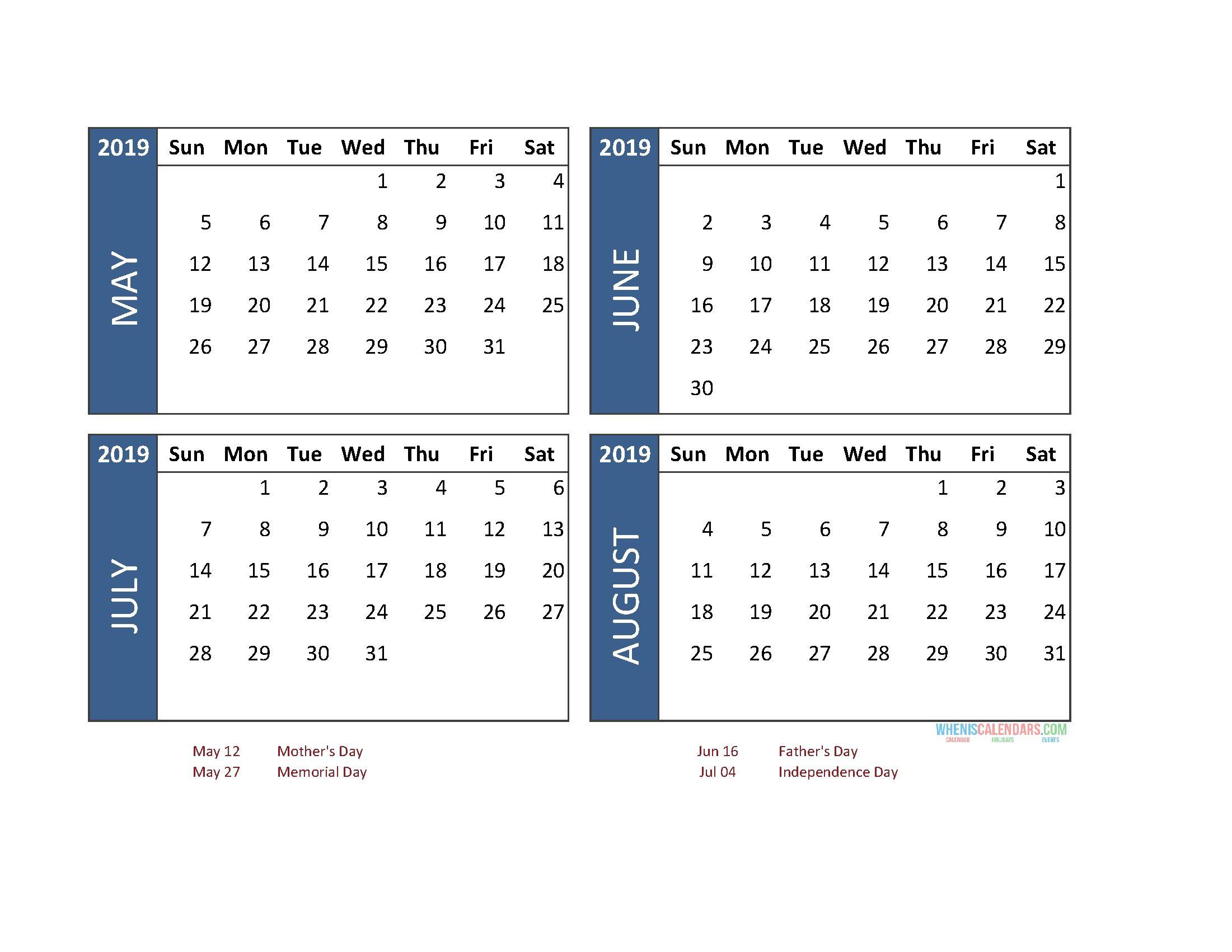 Printable 4 Month Calendar 2019 May June July August | 2019 within Free Printable 4 Month Calendar