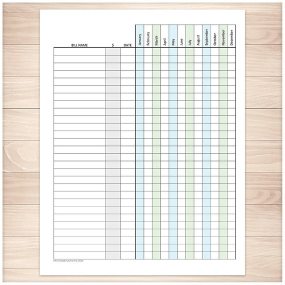 Printable Bill Payment Tracker Log Amount Column, Blue for Happy Planner Bill Pay Checklist