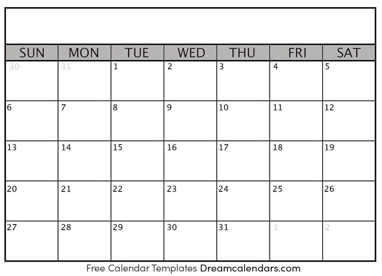 Printable Blank Calendar 2021 | Dream Calendars throughout Empty Calendar Printable