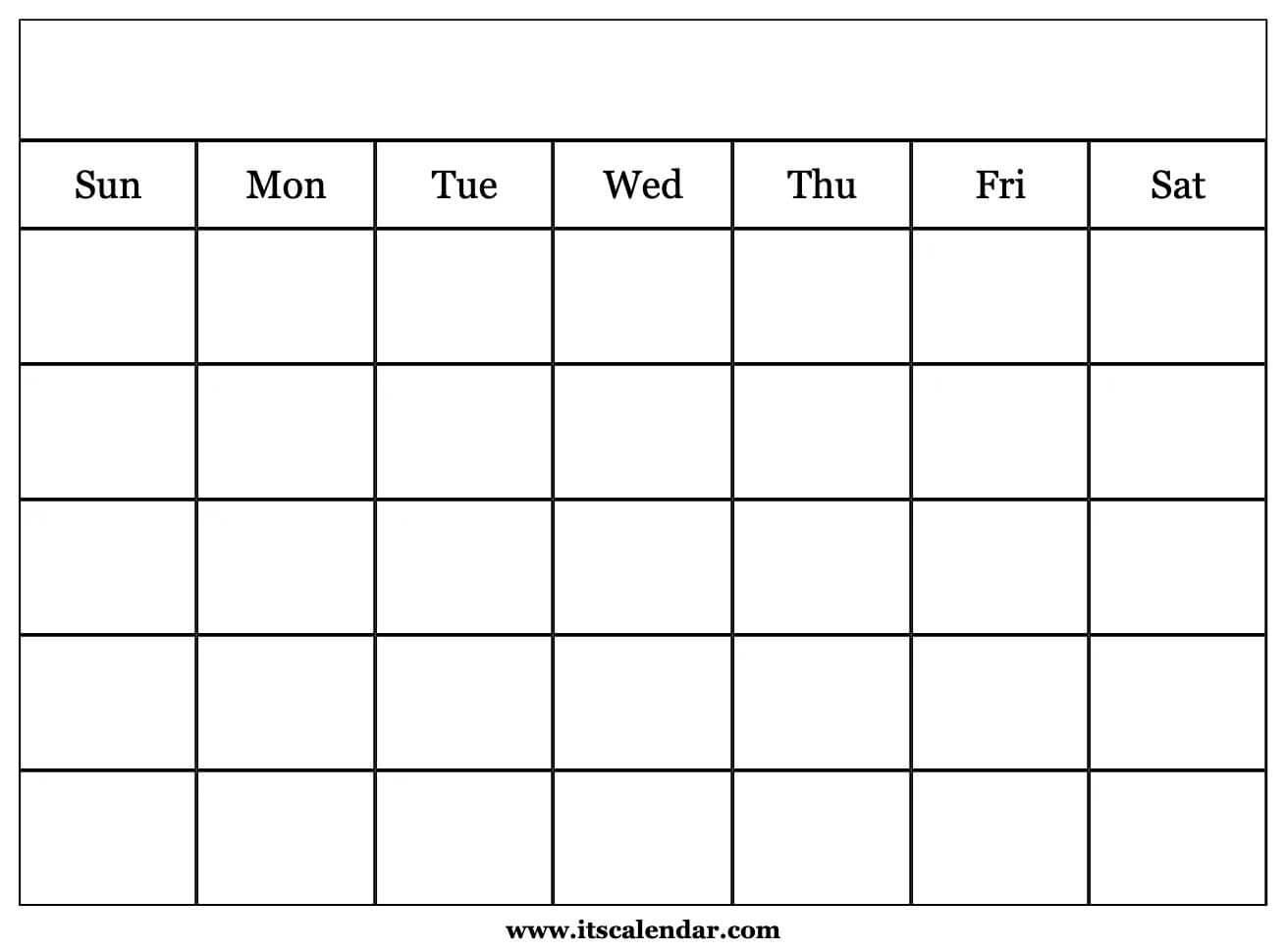 Printable Blank Calendar inside Empty Calendar Printable