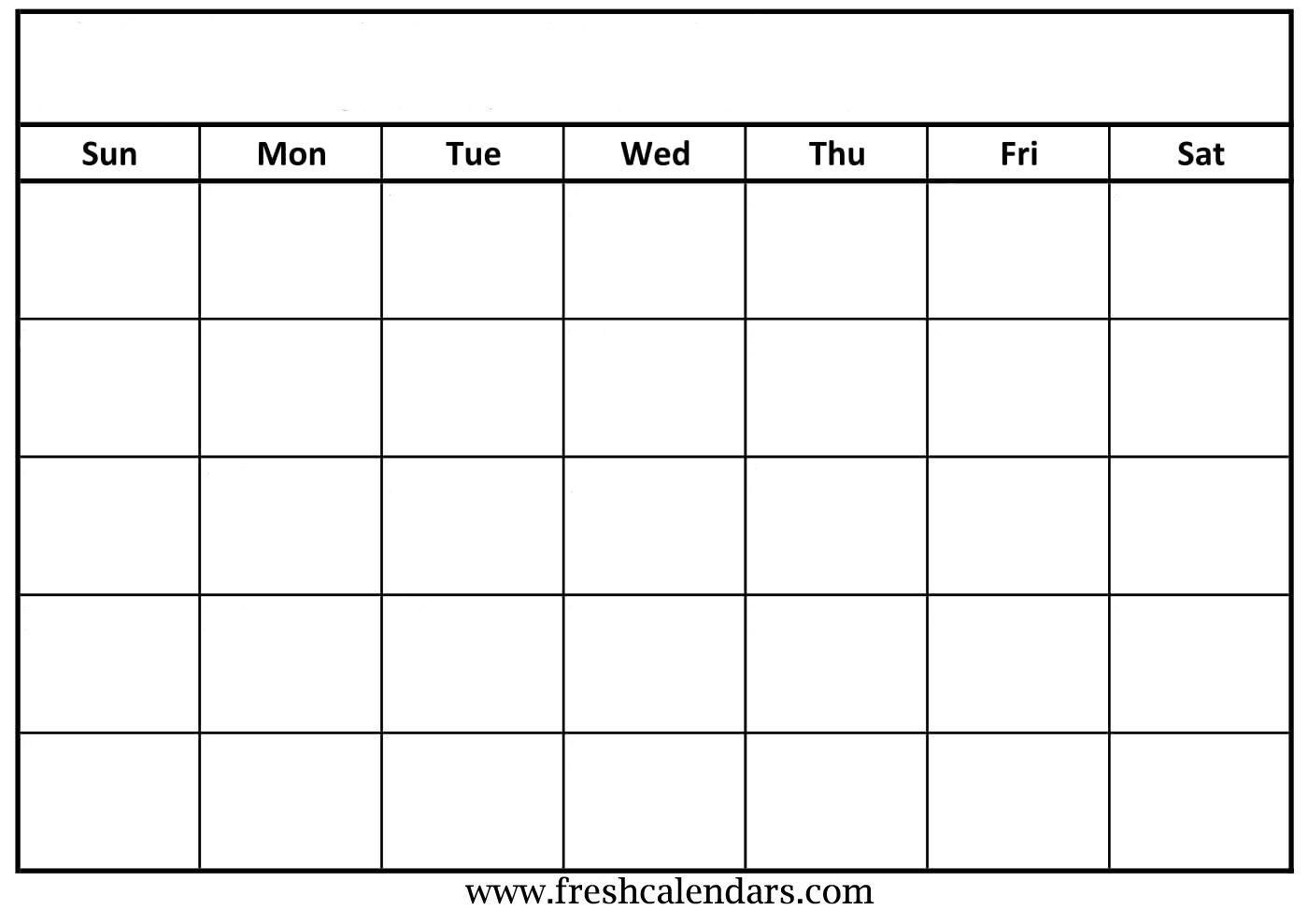 Printable Blank Calendar Templates in Empty Calendar Printable