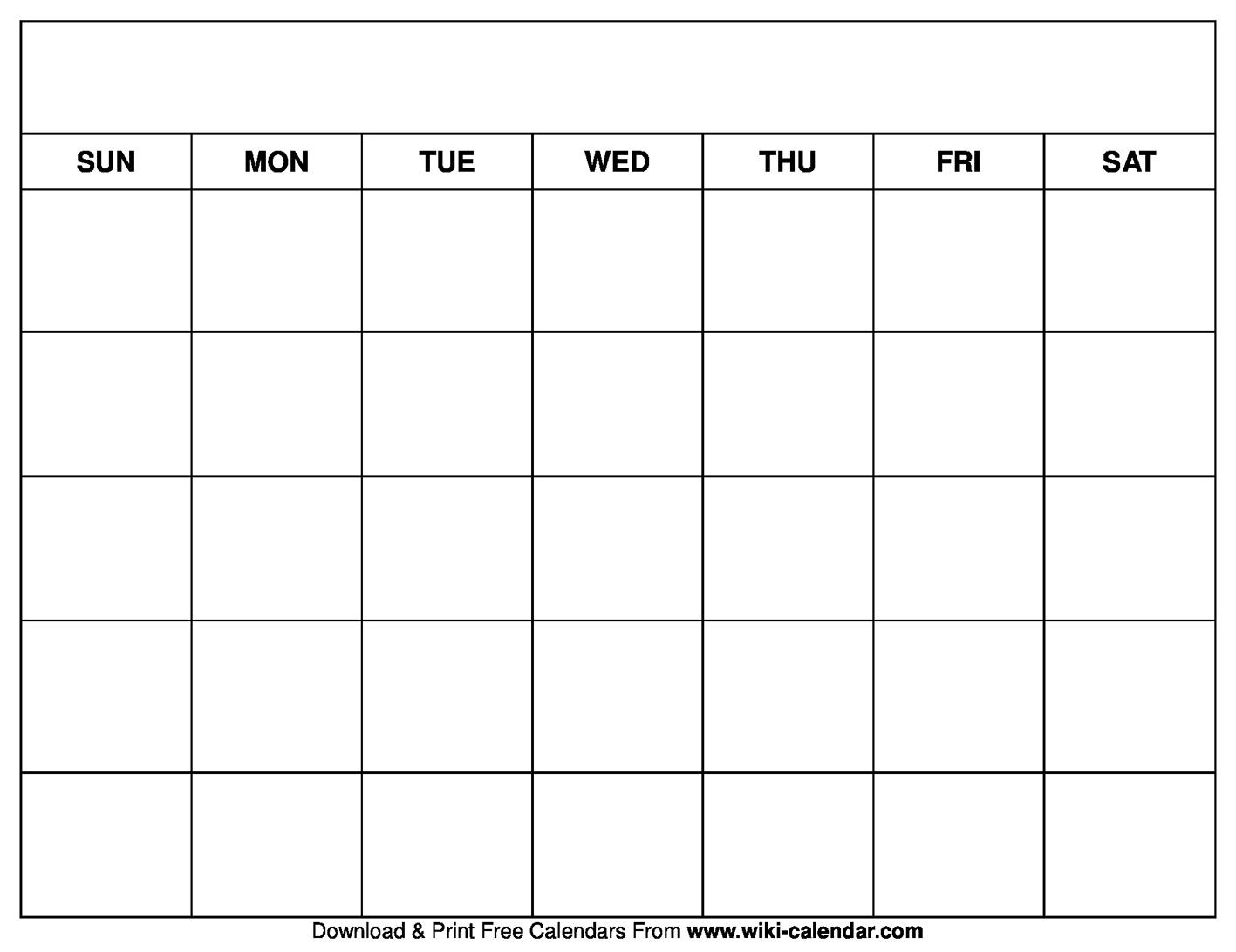 Printable Blank Calendar Templates pertaining to Empty Calendar Printable