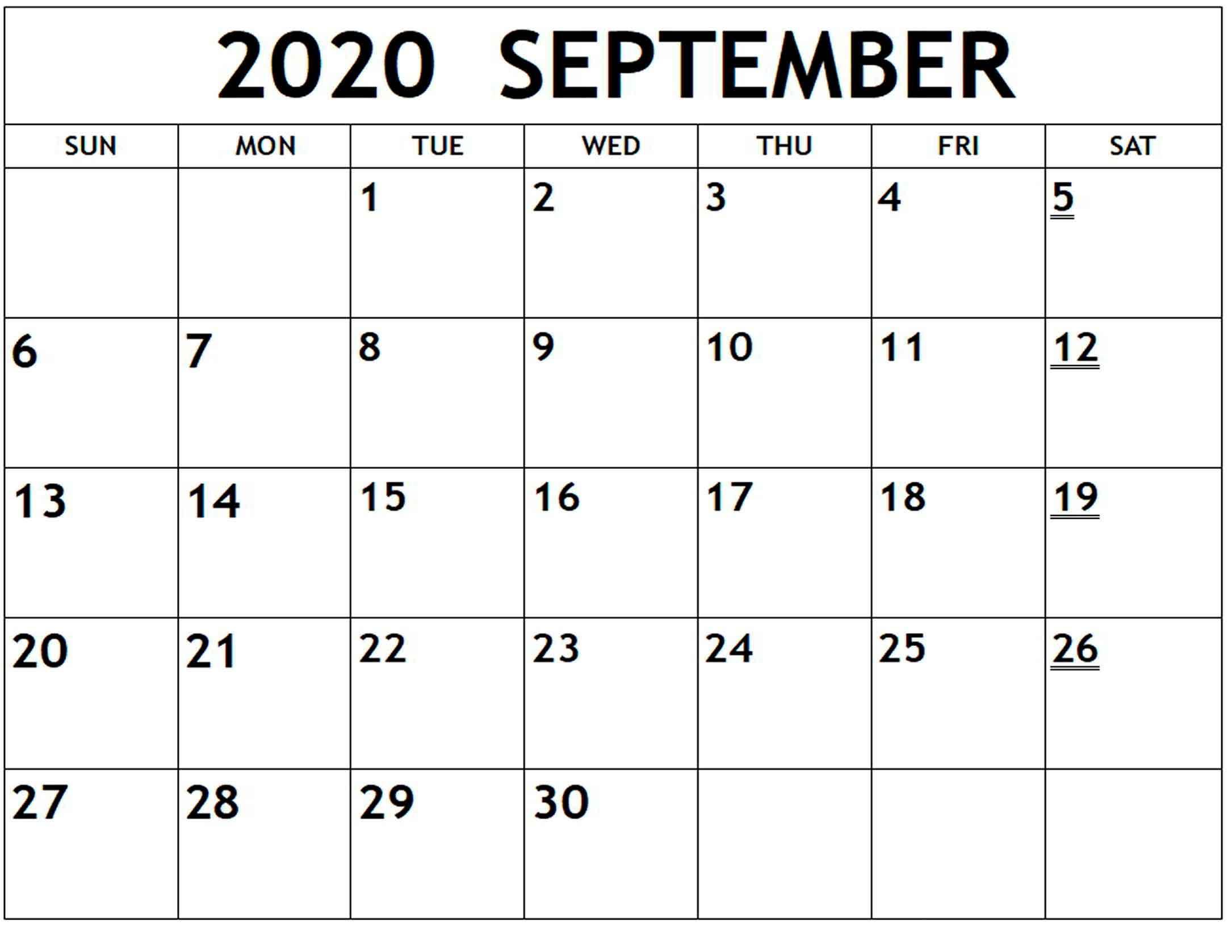 Printable Calendar 2020 September  Monthly Calendar Printable pertaining to September Blank Calendar