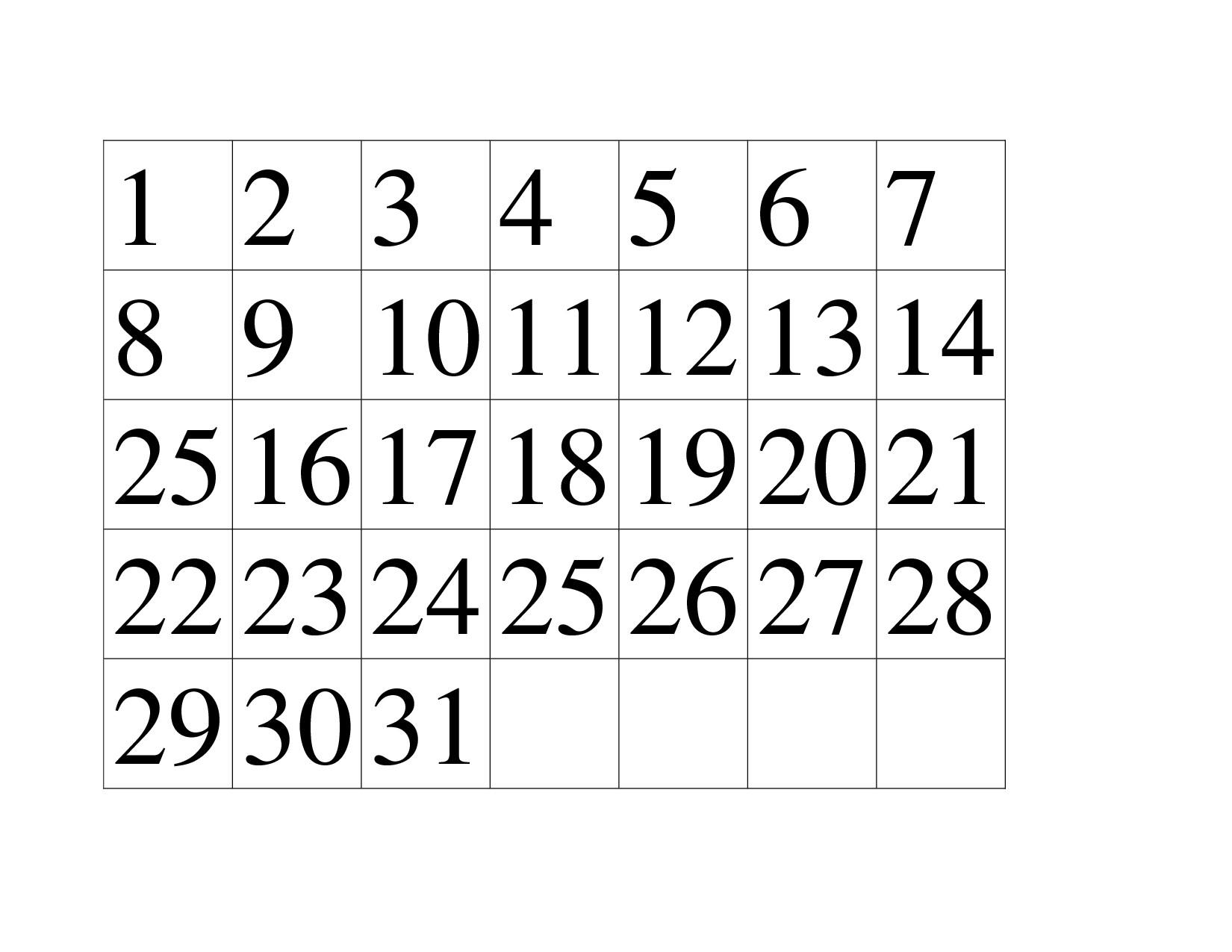 Printable Calendar Numbers For Preschool | Working Calendar in Free Printable Calendar Numbers