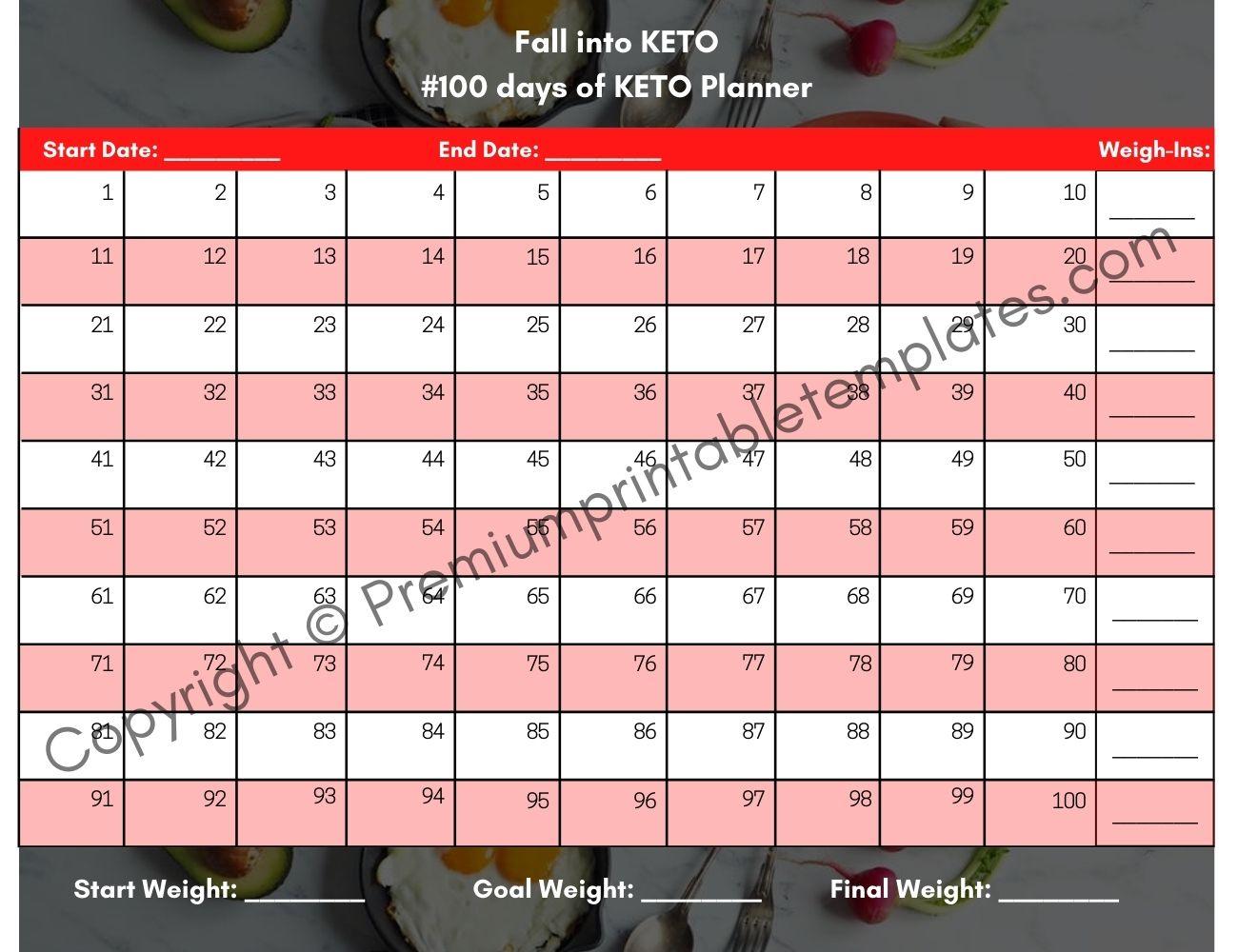 Printable Fall Keto Tracker, 100 Days Of Keto Planner in 100 Days Of Keto Calendar
