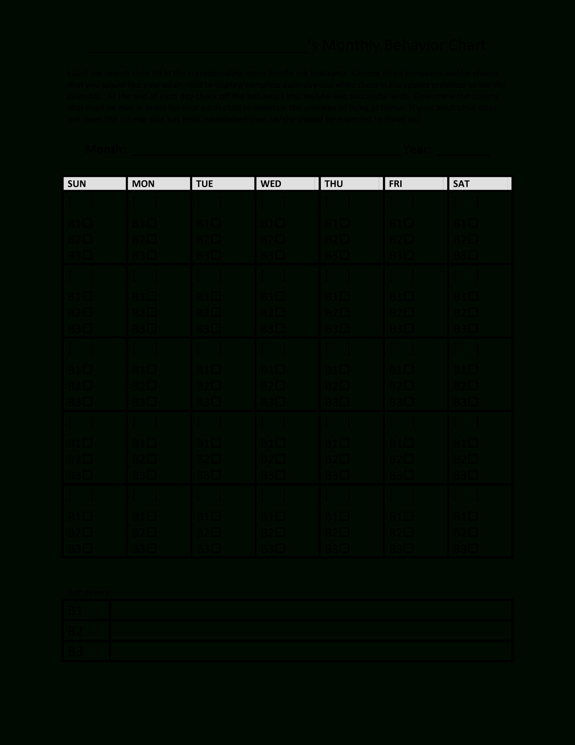 Printable Monthly Behavior Chart | Templates At in Monthly Behavior Chart