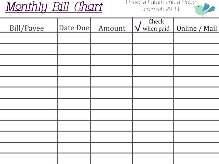 Printable Monthly Bill Chart | Paying Bills, Budget in Free Printable Monthly Bill Chart