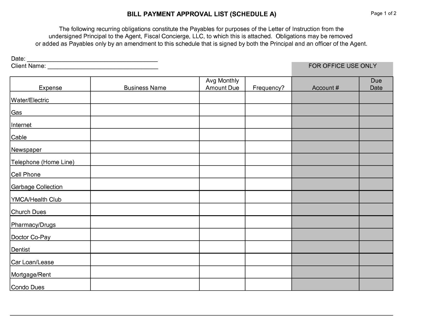 Printable Monthly Bill Chart  Vaydile.euforic.cofree for Free Printable Monthly Bill Chart