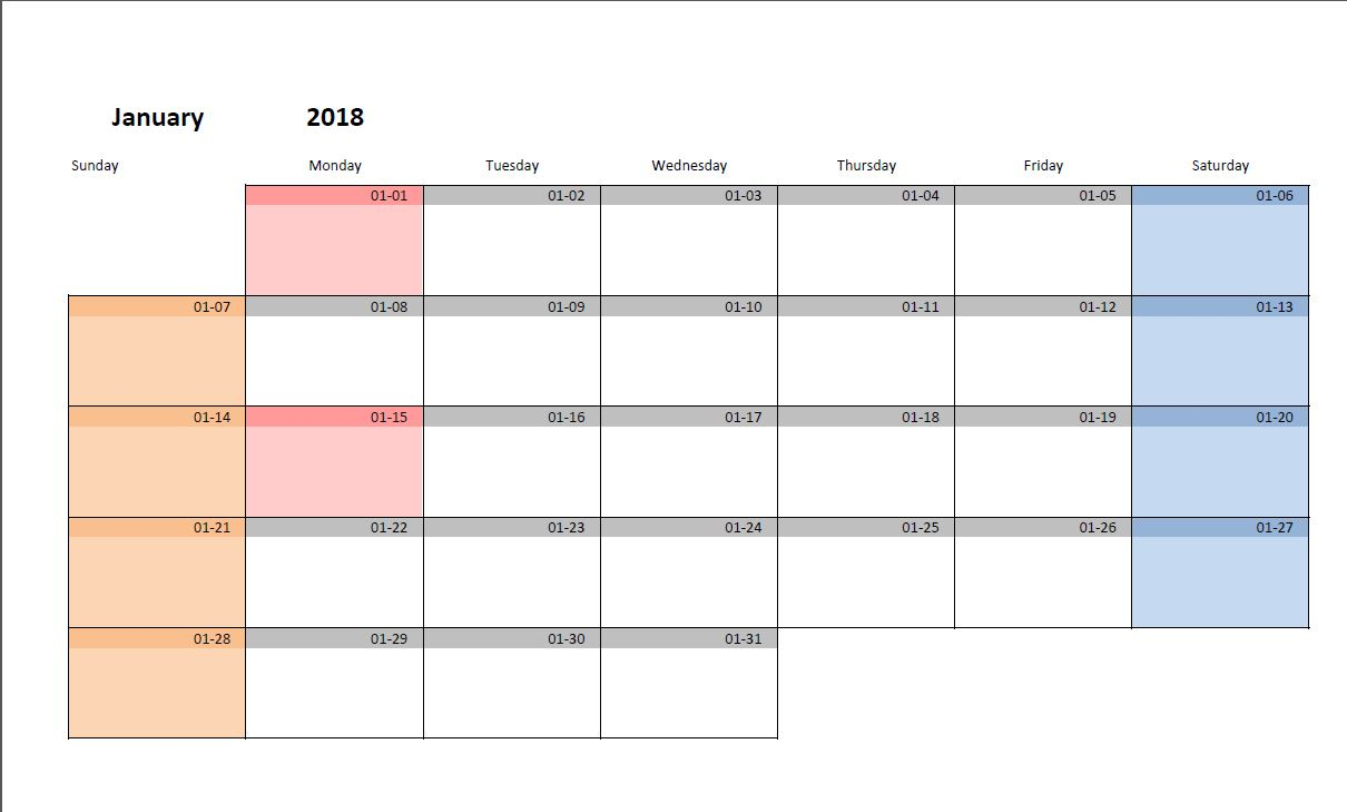 Printable Monthly Calendar Template For Excel | Excelmalin with regard to 3 Month Calendar Template Excel