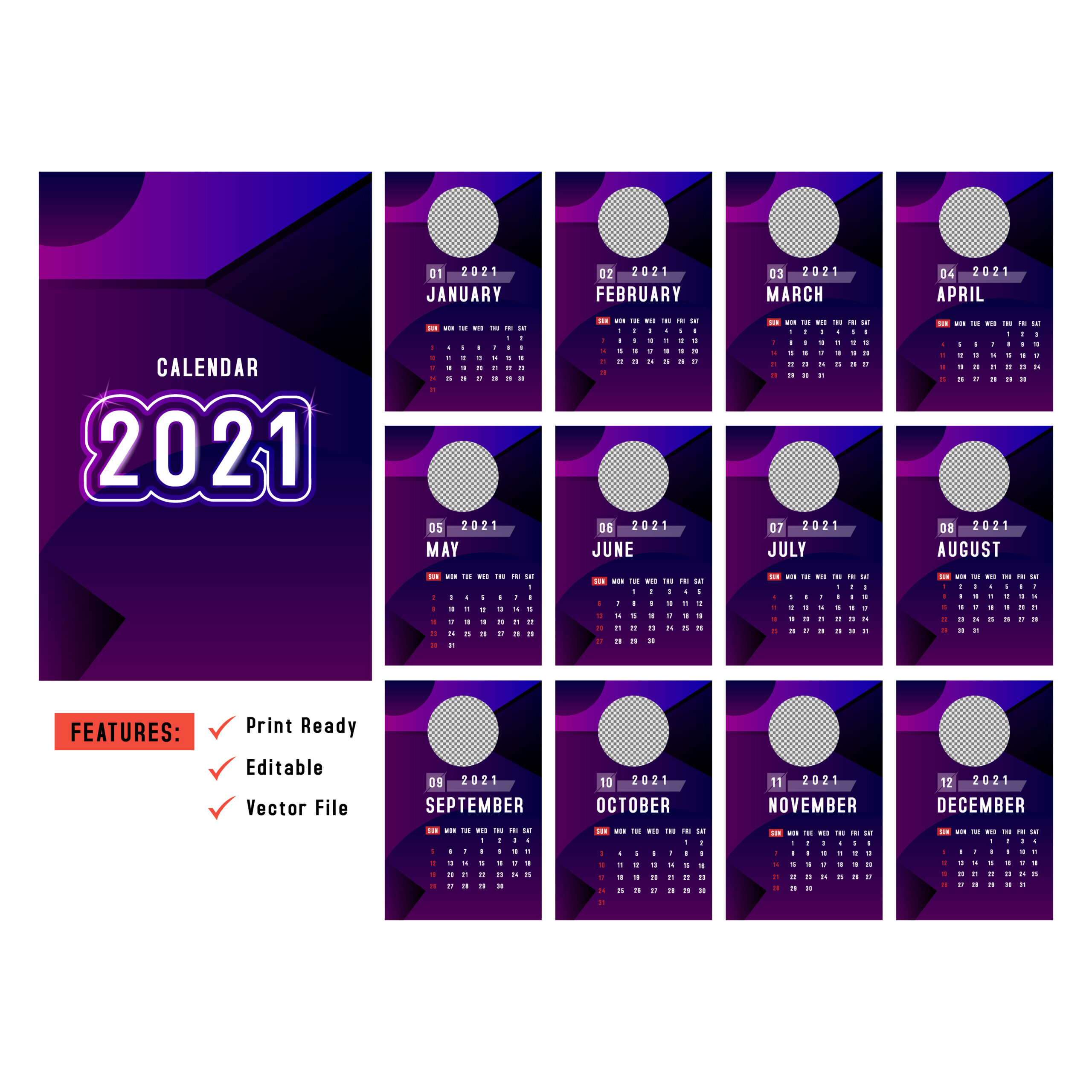 Purple Vertical 2021 Calendars With Circle Image Space with regard to 2021 Calendar Vector Free