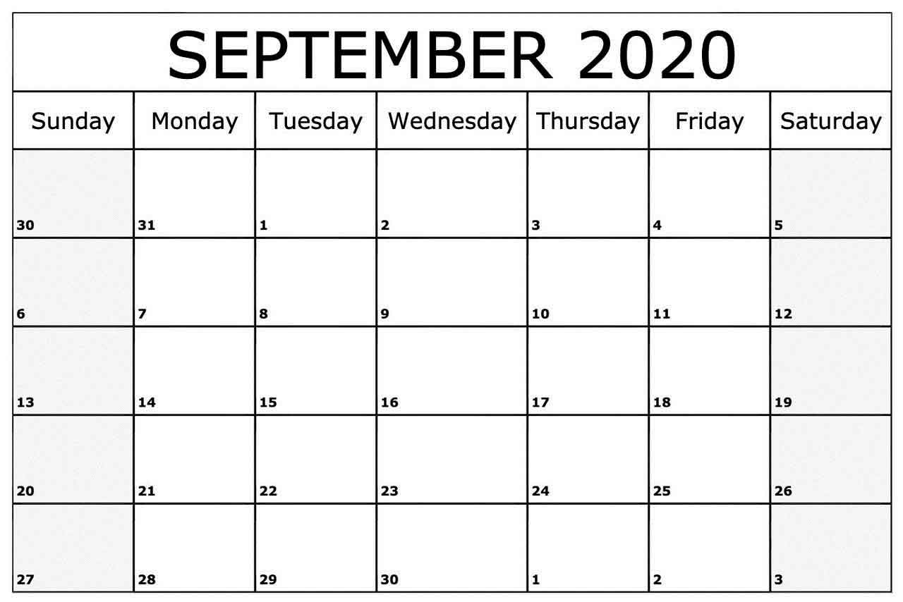 September 2020 Blank Calendar  Free Latest Calendar & Holidays regarding September Blank Calendar