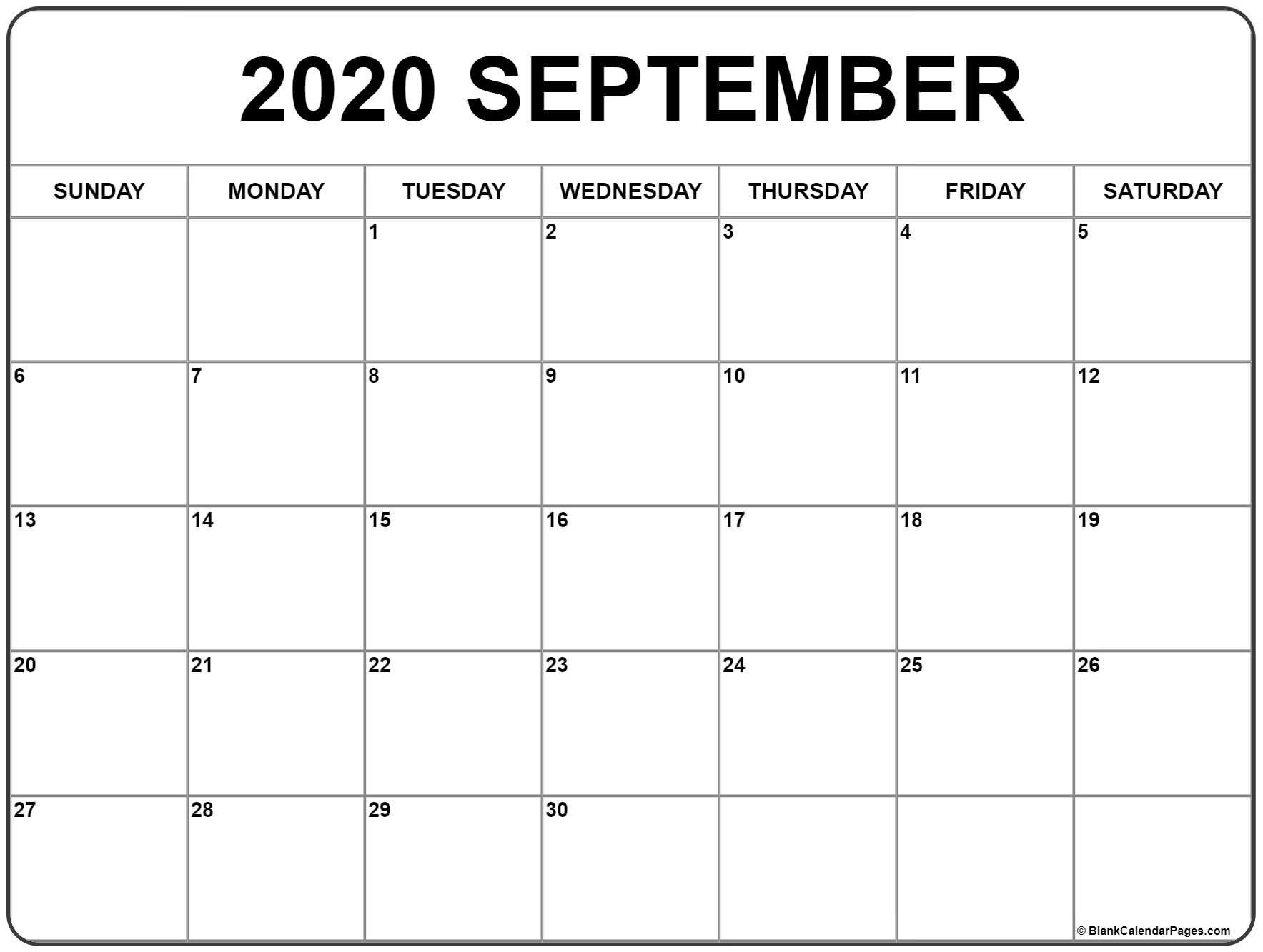 September 2020 Calendar | Free Printable Monthly Calendars intended for Empty Calendar Printable