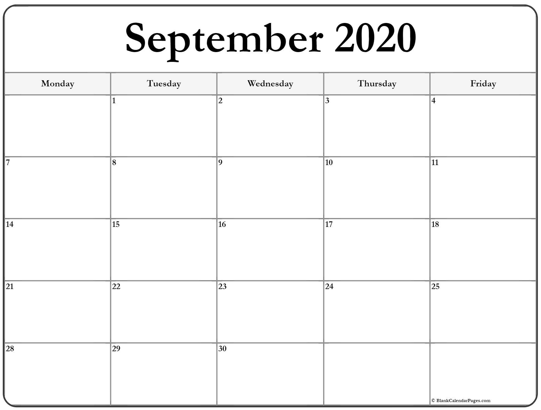 September 2020 Monday Calendar | Monday To Sunday throughout Monday-Friday Calendar Template