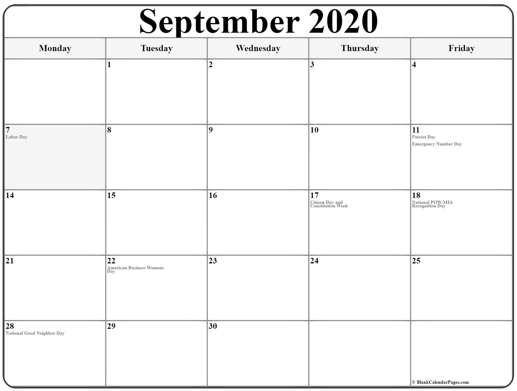 September 2020 Monday Calendar | Monday To Sunday with Saturday Through Friday Calendar