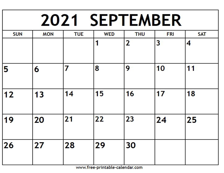 September 2021 Calendar  Freeprintablecalendar in September Blank Calendar