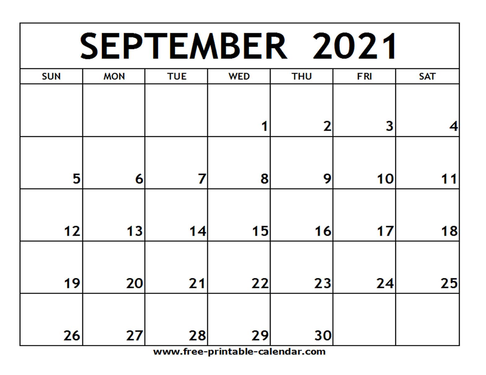 September 2021 Printable Calendar  Freeprintablecalendar for September Blank Calendar