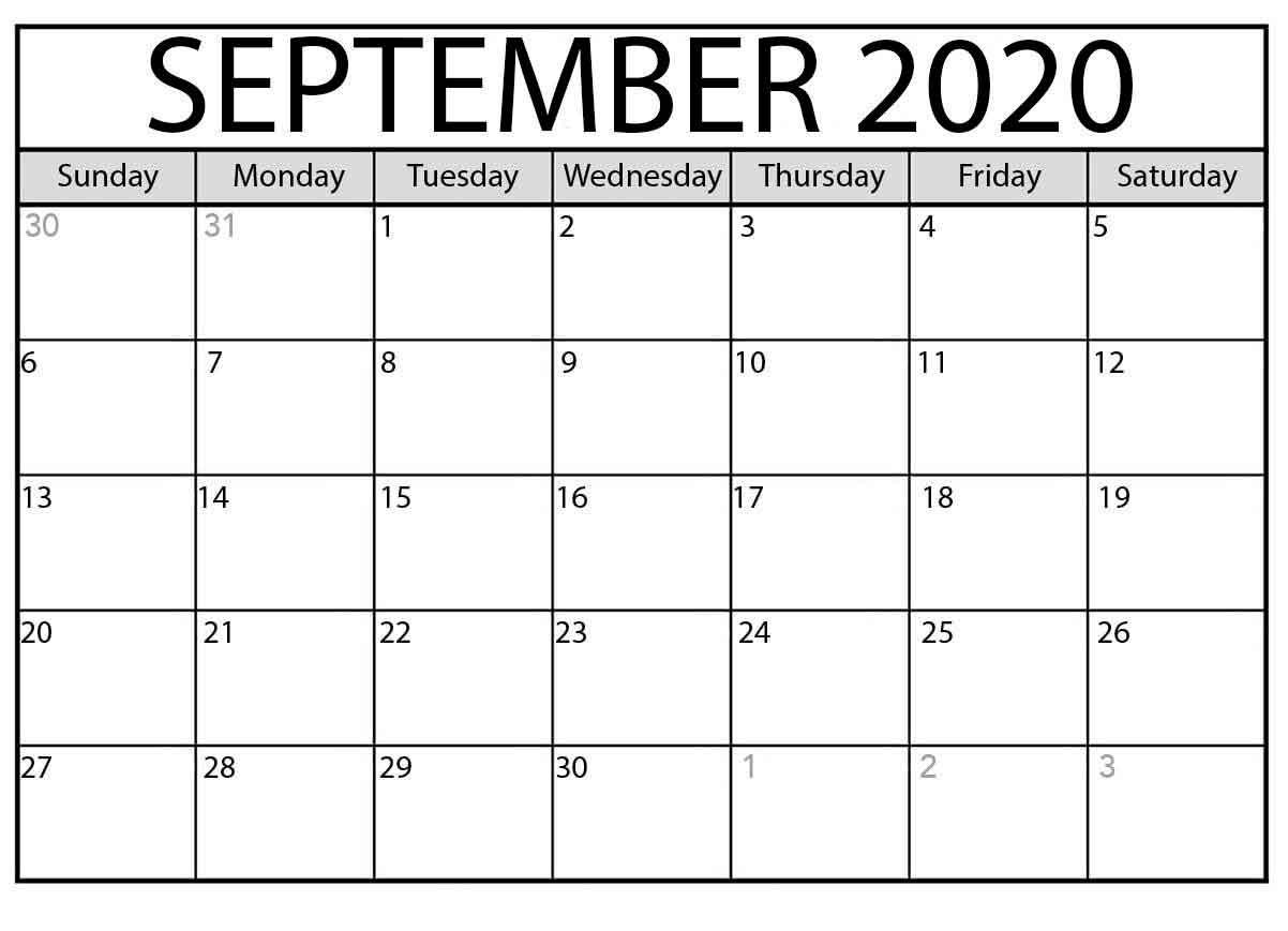 September Blank Calendar 2020  Calendar Word intended for September Blank Calendar