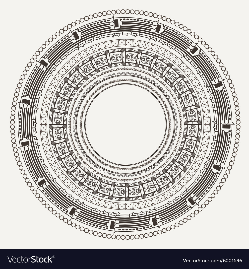 Set Frames In Style Stone Aztec Calendar Vector Image with regard to Aztec Calendar Template