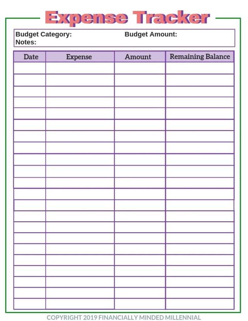 Simple Free Printable Expense Tracker To Add To Your Budget inside Free Bill Tracker Printable