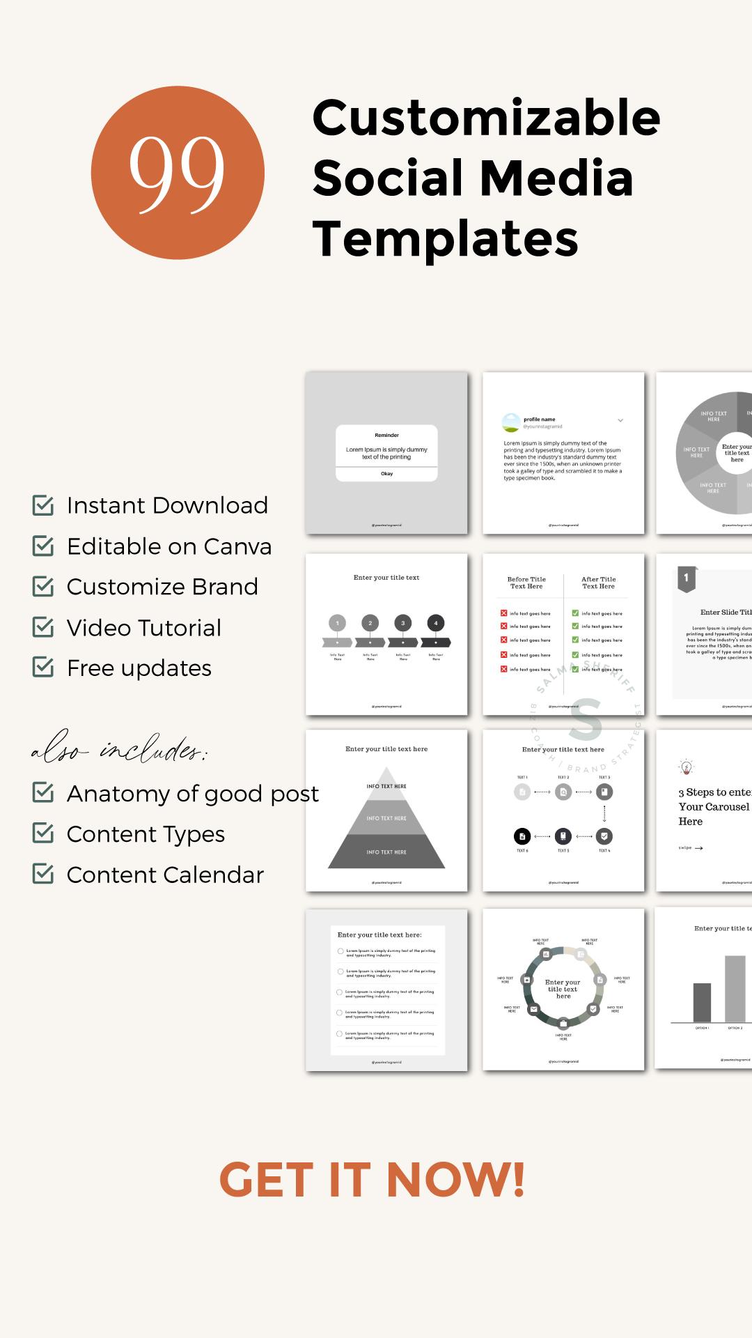 Social Media Templates For Entrepreneurs & Impactmakers intended for Canva Calendar Maker