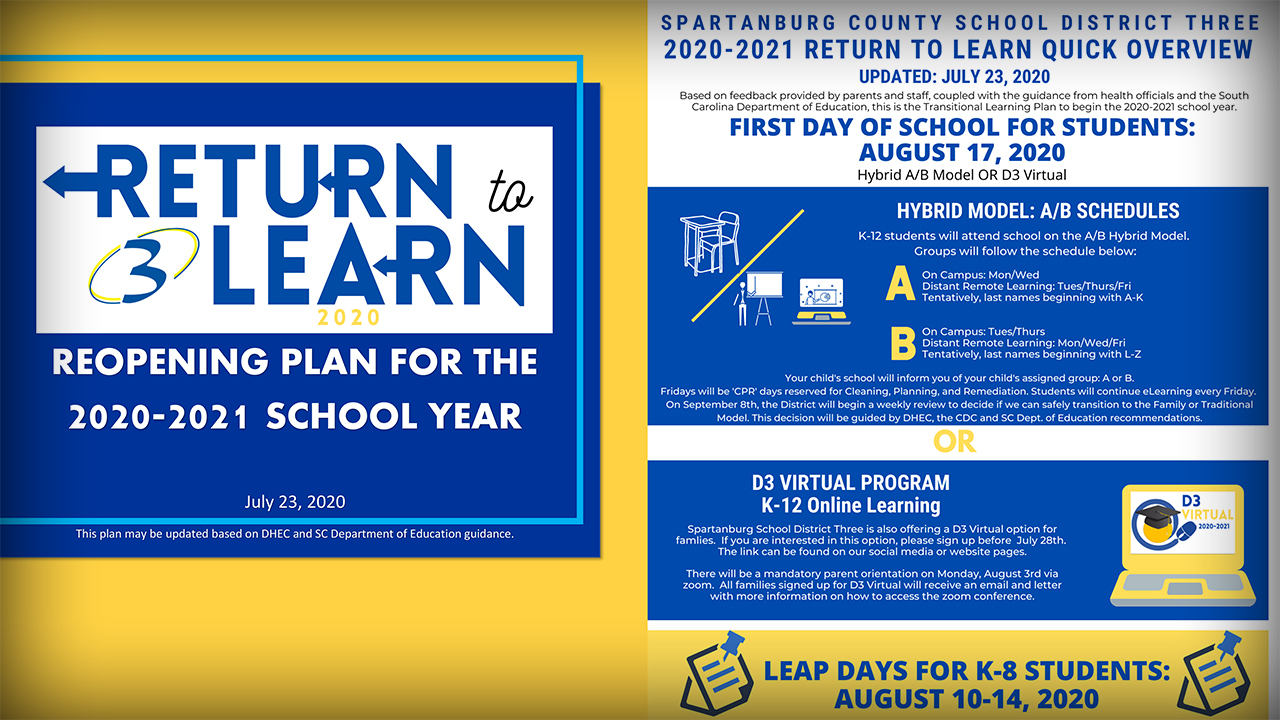 Spartanburg District 3 Releases Back To School Plans with regard to Spartanburg School District 3 Calendar