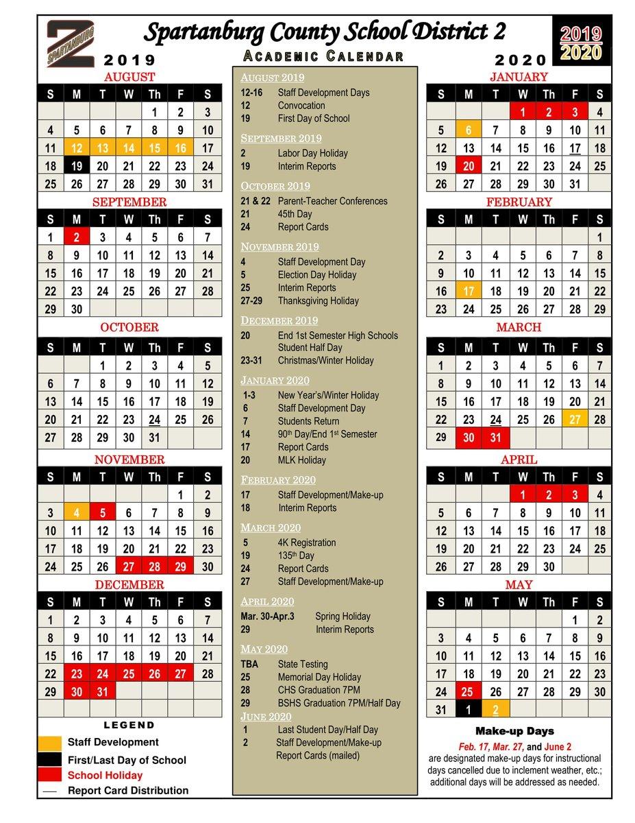 """Spartanburg School District 2 On Twitter: """"Spartanburg Two for Spartanburg School District 3 Calendar"""