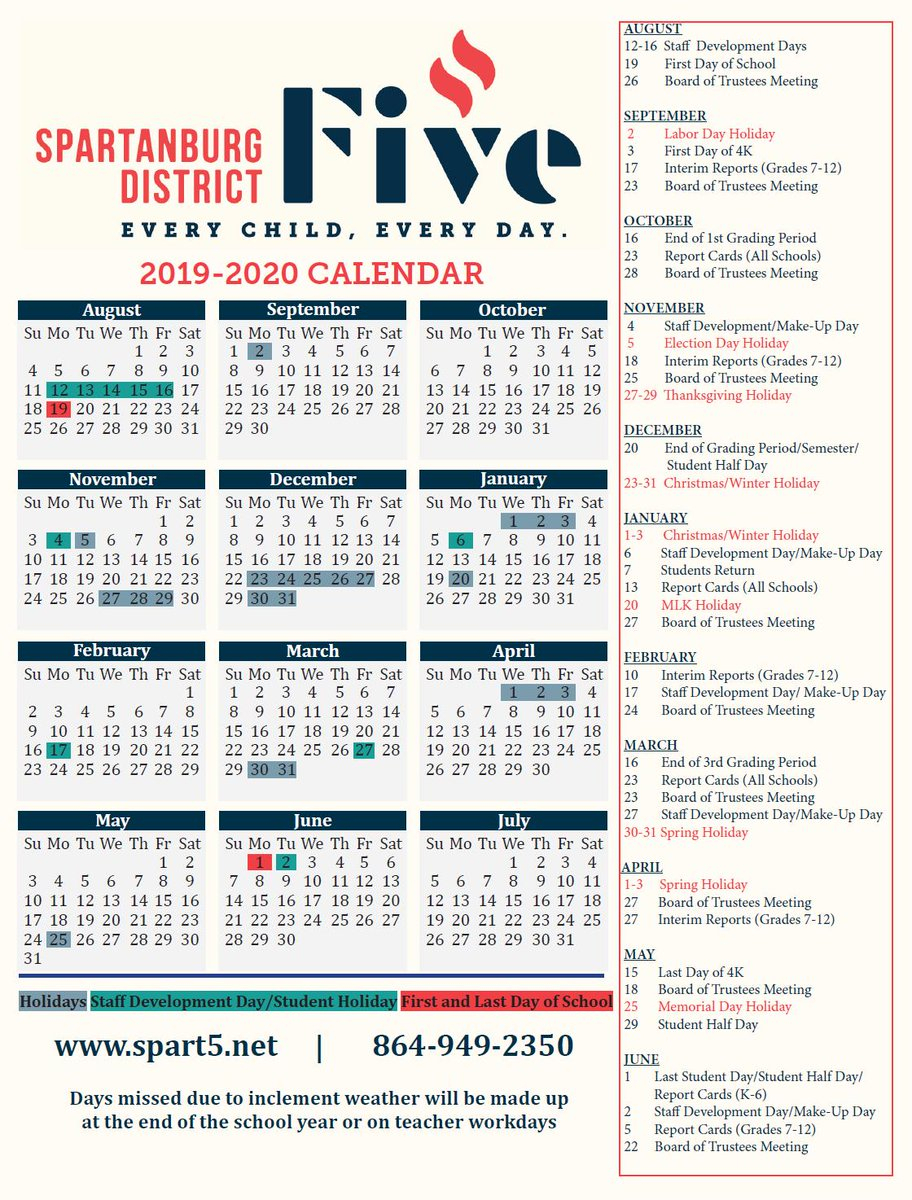 """Spartanburg5 Schools On Twitter: """"Can'T Believe It'S Time To within Spartanburg School District 3 Calendar"""