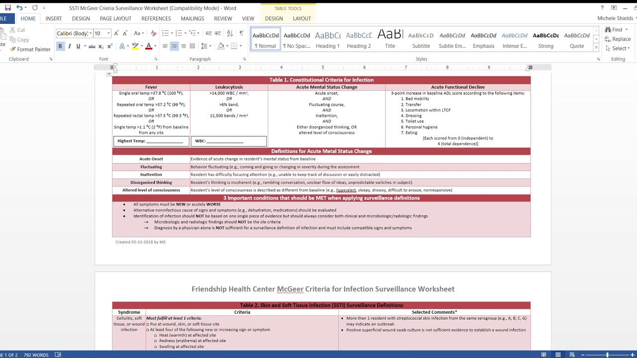 Ssti Mcgeer Criteria Surveillance Worksheet for Mcgeer Criteria Worksheet