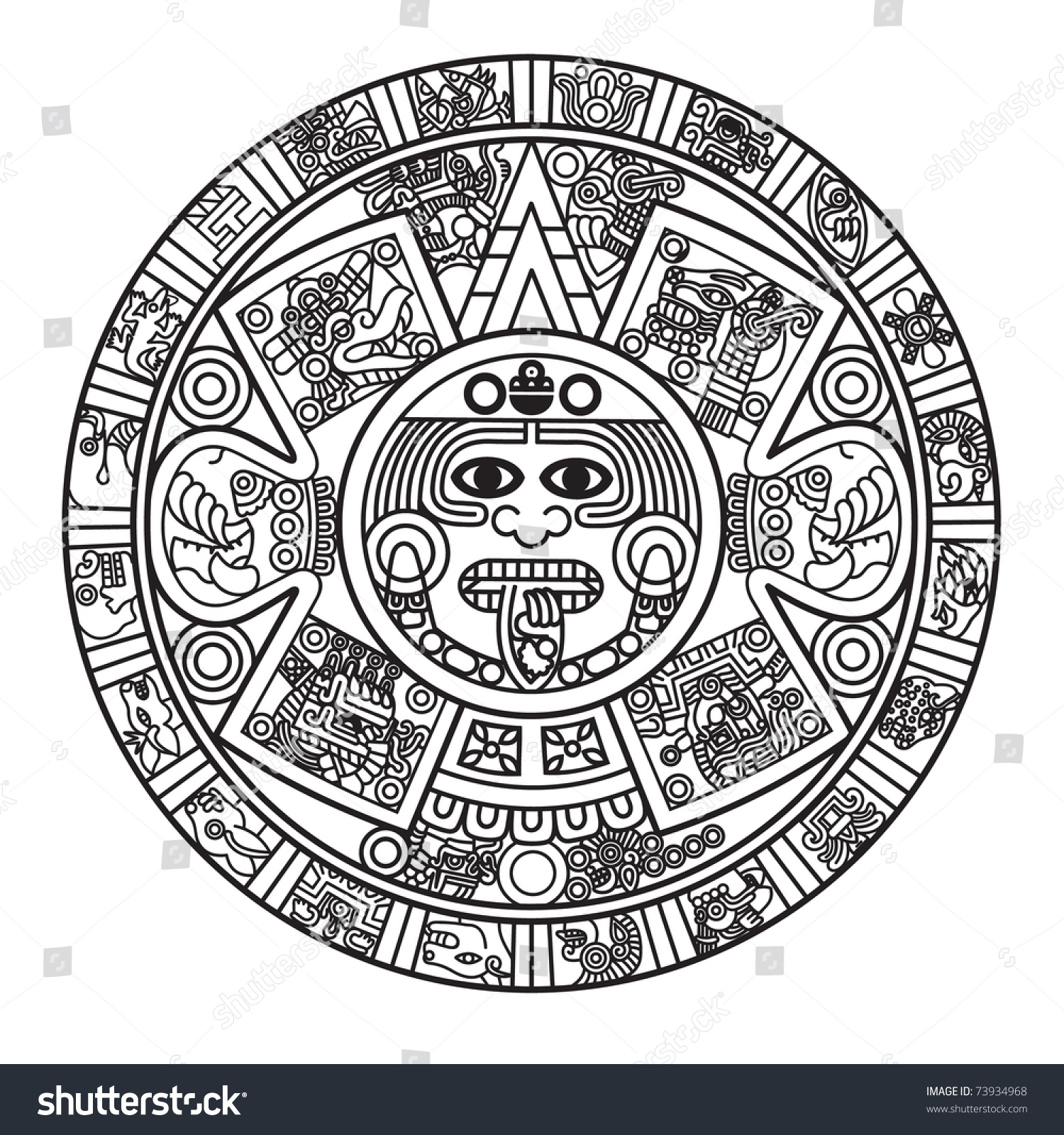 Stylized Aztec Calendar Raster Version Stock Illustration pertaining to Aztec Calendar Template